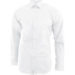 vaatteet Miehet Pitkähihainen paitapusero Brook Taverner BK130 White