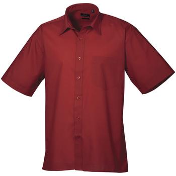 vaatteet Miehet Lyhythihainen paitapusero Premier PR202 Burgundy