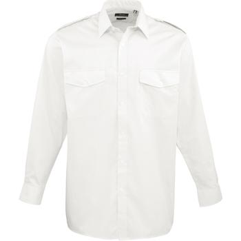 vaatteet Miehet Pitkähihainen paitapusero Premier PR210 White