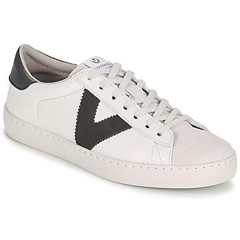 kengät Miehet Matalavartiset tennarit Victoria BERLIN PIEL CONTRASTE White / Grey