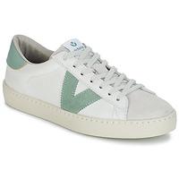 kengät Naiset Matalavartiset tennarit Victoria BERLIN PIEL CONTRASTE White / Green