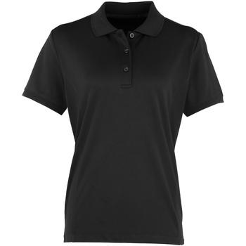 vaatteet Naiset Lyhythihainen poolopaita Premier PR616 Black