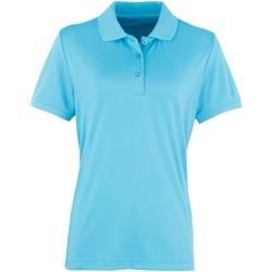 vaatteet Naiset Lyhythihainen poolopaita Premier PR616 Turquoise