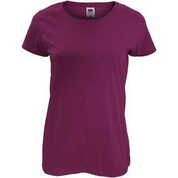 vaatteet Naiset Lyhythihainen t-paita Fruit Of The Loom 61420 Burgundy