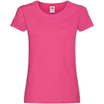 vaatteet Naiset Lyhythihainen t-paita Fruit Of The Loom 61420 Fuchsia