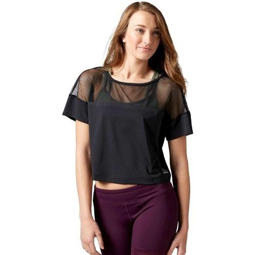 vaatteet Naiset Lyhythihainen t-paita Reebok Sport Cardio Fashion Top Mustat