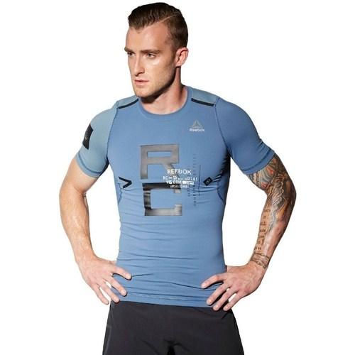 vaatteet Miehet Lyhythihainen t-paita Reebok Sport Combat Rash Guard Vaaleansiniset